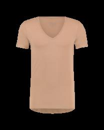 T-Shirt Diepe V Hals Naturel Sand Dry Comfort 10-Pack