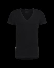 T-Shirt Diepe V Hals Zwart 10-Pack
