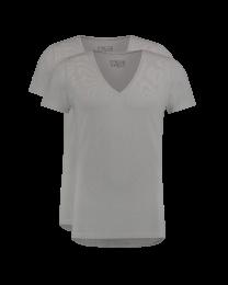 T-Shirt Diepe V Hals Grijs 2-pack