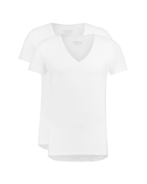 T-Shirt Diepe V Hals Wit 2-pack