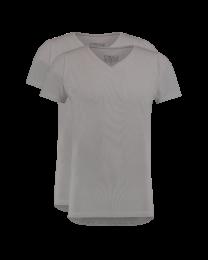 T-Shirt Normale V Hals Grijs 2-pack