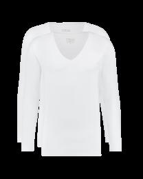 T-Shirt Lange Mouw Diepe V hals Wit 2-pack