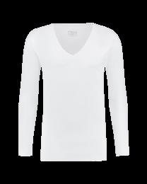 T-Shirt Lange Mouw Diepe V hals Wit 10-pack